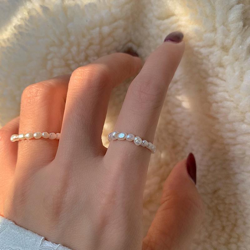 Peri'sBox Multi Beaded Pearl Rings Natural Freshwater Pearl Geometric Rings for Women Continuous Circle Minimalist Ring 2020 New