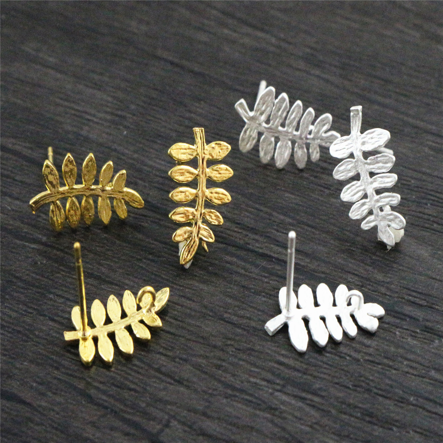 6pcs ( 3pair) 15x13mm Matte Silver Color Gold Color Leaf Ear Hooks Earring Wires For Handmade Women Fashion Jewelry Earrings
