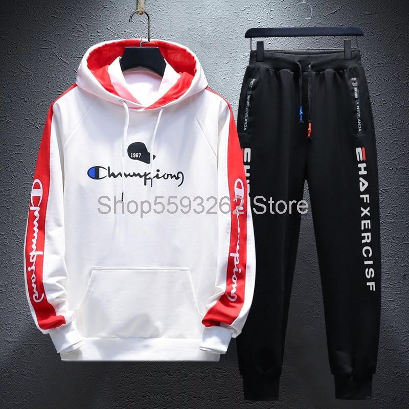2020 Men's Sweater Suit Hoodie Suit Trend Slim Champion Sweater Student Clothes