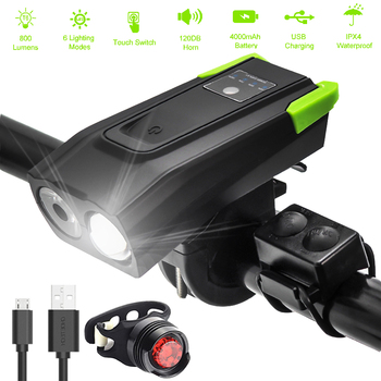 4000mAh Smart Induction Bicycle Front Light Set USB Rechargeable 800 Lumen LED Bike Light with Horn Bike Lamp Cycling FlashLight motorcycle signal lamp rechargeable cycling light 5000 lumen 8 4v bicycle bike led front rear lamp set