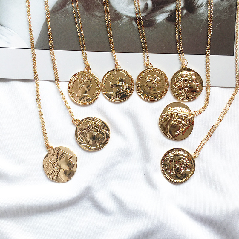 Ailodo Vintage Carved Gold Coin Roman Necklace For Women Bohemian Pendant Necklaces Boho Jewelry Statement Necklaces 20FEB13(China)