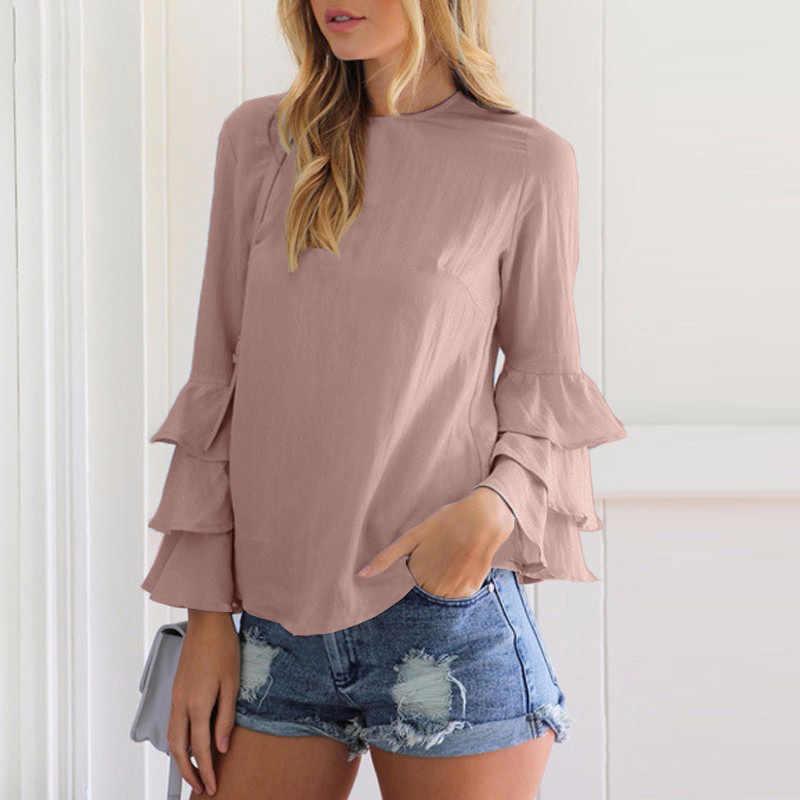 Женский элегантный топ размера плюс 5XL с рукавом-бабочкой, шифоновая Многоуровневая блуза, рубашка, женская блуза с длинным рукавом и круглым вырезом, повседневные свободные топы
