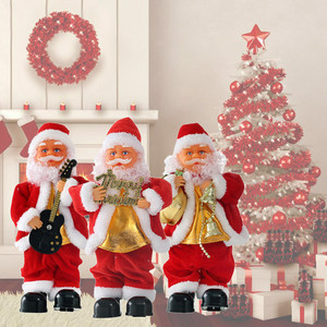 Figura de Santa Claus de Navidad que cantan el juguete eléctrico de Santa Claus regalo para niños figuras de Navidad Santa Claus muñeca