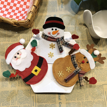 6pcs Cutlery Suit Forks Bag Tableware Holder Pockets Table Dinner Decor Xmas New Year Christmas Decorations for Home