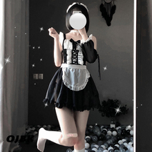 OJBK 섹시 란제리 코스프레 에로틱 한 앞치마 일본 메이드 섹스 의상 Babydoll 여성 레이스 미니 스커트 복장 Sweet Lolita Anime Dress
