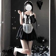 OJBK seksowna bielizna Cosplay erotyczny fartuch japoński pokojówka seks kostium Babydoll kobiety koronki minispódniczka strój słodki Lolita Anime sukienka