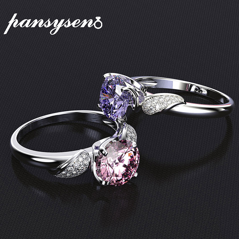 PANSYSEN 100% Solid 925 Sterling Silver Wedding Engagement Rings For Women Pink Quartz Diamond Ring Size 6-9 drop shipping(China)