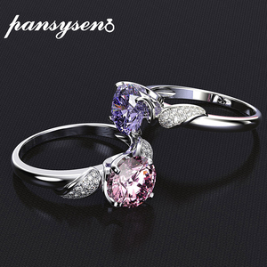 PANSYSEN Pure 925 Sterling Silver Jewelry Wedding Engagement Rings For Women Top Quality Luxury 8x8mm Gemstone Ring Size 6-9(China)