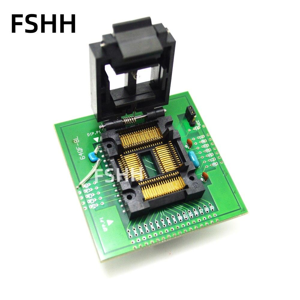 64QF-8L Programmer Adapter FPQ-64-1.0-08 Test Socket TQFP64 LQFP64 QFP64 To DIP28 Adapter