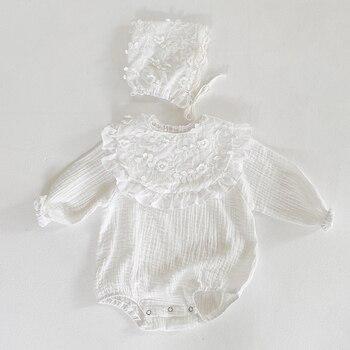 Осень 2020, комбинезоны для новорожденных девочек, одежда, детские вязаные комбинезоны, шапка и нагрудник, однотонные вязаные детские комбинезоны с длинным рукавом|Ромперы|   | АлиЭкспресс
