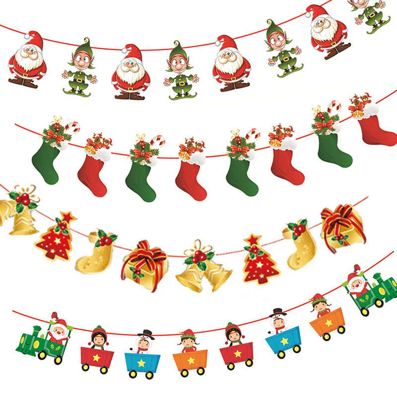 merry christmas banner paper garland snowman santa claus xmas party bunting hanging decora diy new year christmas tree ornaments banners streamers confetti aliexpress aliexpress