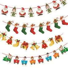Feliz natal banner papel guirlanda boneco de neve papai noel natal festa bunting pendurado decora diy ano novo árvore de natal ornamentos