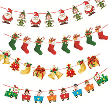 Merry Christmas Banner Paper Garland Snowman Santa Claus Xmas Party Bunting Hanging Decora DIY New Year Christmas Tree Ornaments