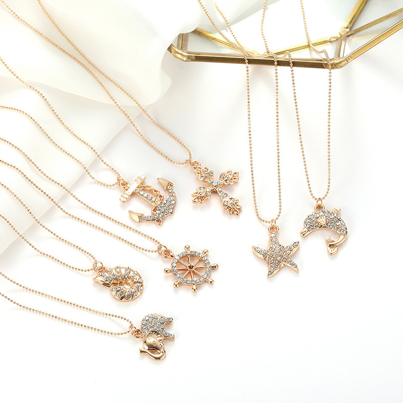 Japan and Korea new animal necklace star moon cross neck tie temperament net red ins wind pendant accessories