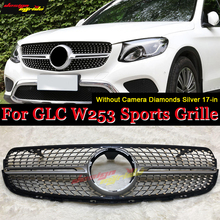 front grille suitable for glc class w253 gtr 2015 2018 x253 glc200 glc250 glc300 glc450 glc63 grille without central logo W253 Diamond Front Grill Grille Without sign For MercedesMB GLC Class GLC250 GLC350 GLC400 ABS Black Grills Without Camera 17-in