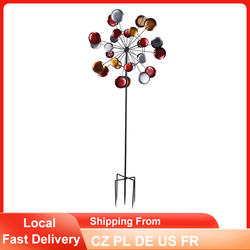 Colorful Wind Spinner Garden Unique Iron Windmill Outdoor Yard Lawn Decoration Ornament Windmills