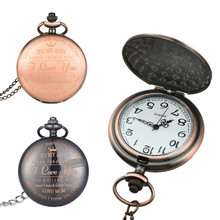 Bronze Quartz Pocket Watch Chain Necklace Vintage Pendant Clock Gift Necklace Fob Watches Fashion Accessories