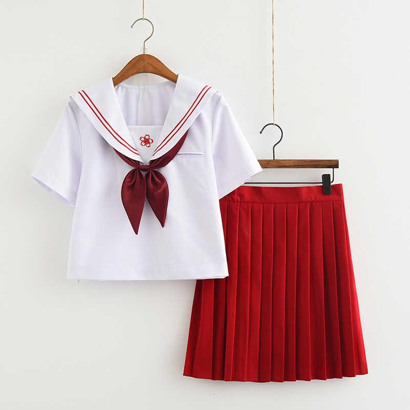 Meisje Korte Rok Japanse Stijl JK Schooluniform Japan College Stage Dance Sailor Kostuum Geplooide Anime Cosplay T-shirt Jurken