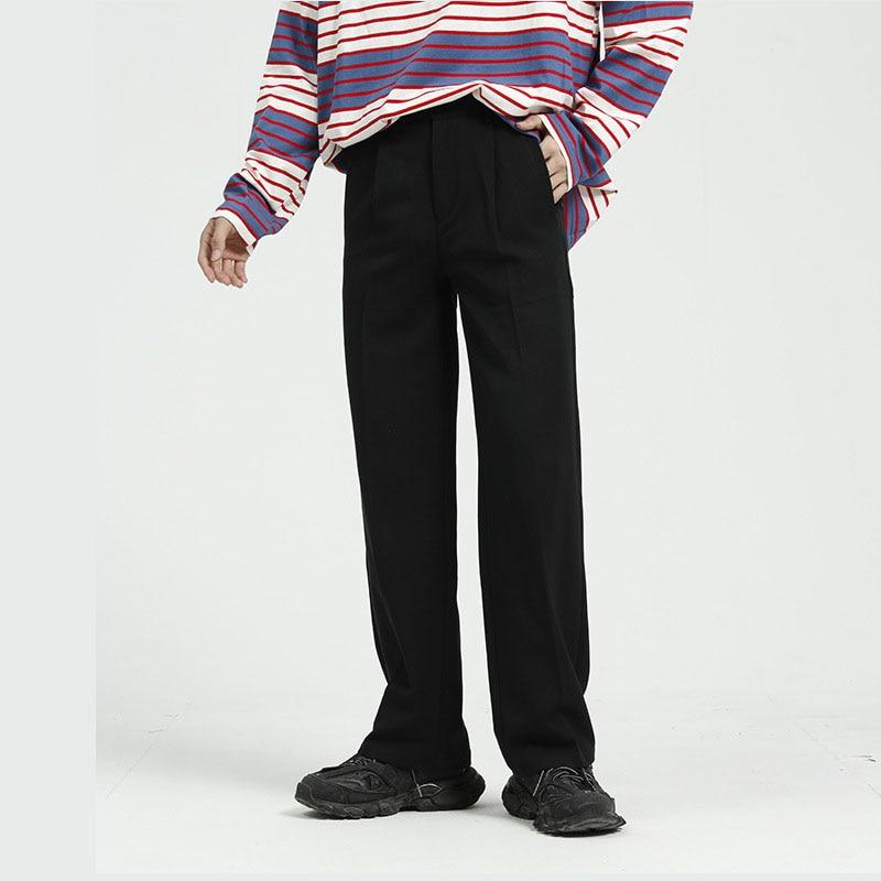 Men Casual Straight Suit Pant Male Japan Korea Style Loose Vintage Fashion Streetwear Trousers Wide Leg Pant