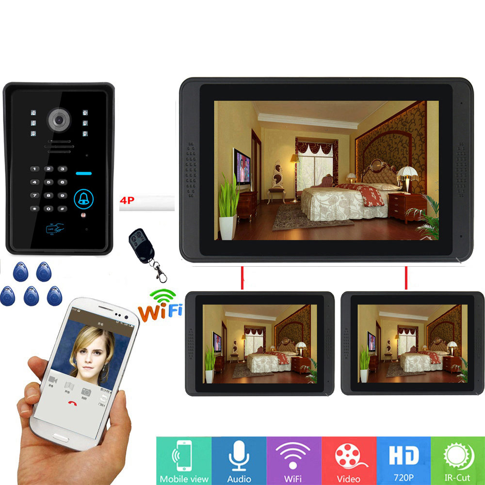 7 Inch 3 Monitors Wired / Wireless Wifi RFID Password Video Door Phone Doorbell Intercom System With + IR-CUT HD 1000TVL Camera