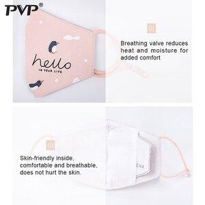 Image 2 - PVP 1 шт хлопок PM2.5 Детская Женская защита от пыли милый Пингвин Принт угольный фильтр ветрозащитные маски + 2 фильтра