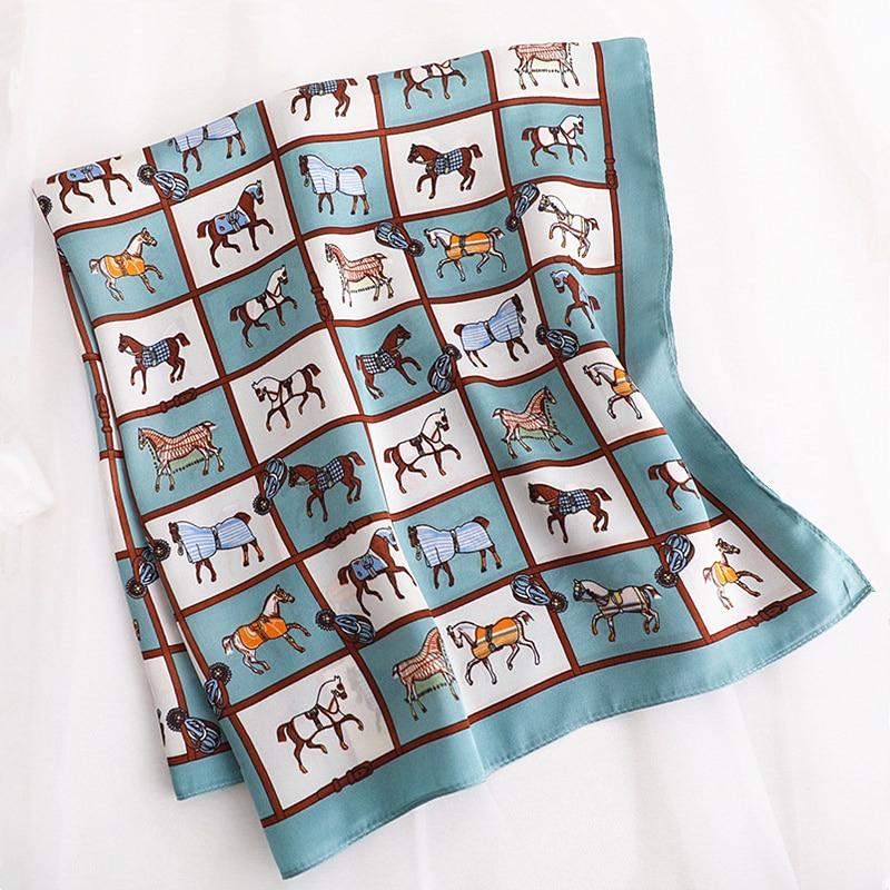 AOMU 70*70cm Small Square Silk Scarf For Women Fashion Neck Head Scarfs Ladies Foulard Hair Band Tie Female Print Handkerchief