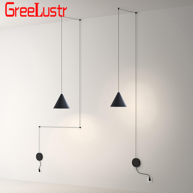 Modern DIY Design Long Wire Line Led Pendant Light Black Metal Line Art Hanging Lamp Bedside Lamp For  Kitchen Geometric Lustres