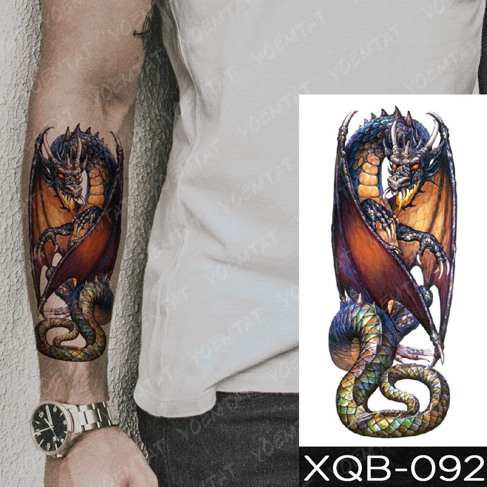 Waterproof Temporary Tattoo Sticker Blue Ice Dragon Plum Blossom Flash Tattoos Family Tree Fox Body Art Arm Fake Tatoo Women Men 3