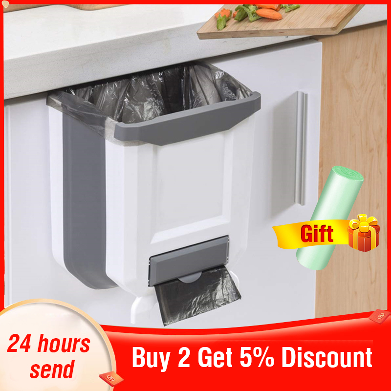 Folding Kitchen Trash Can Kitchen Folding Waste Bin Kitchen Garbage Cans Recycle Rubbish Bin for Kitchen Dustbin Garbage Bin