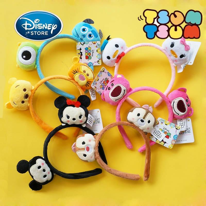 Disney Tsum Tsum Mickey Ears Headband Lovely Girl Bow Hair Hoop Disneyland Minnie Mouse Headdress Birthday Party Decoration