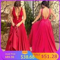 Sexy rojo vestidos De noche cuello en V sin respaldo vestido De graduación satinado largo elegante vestido De noche vestido De fiesta De Navidad vestido De fiesta Plus
