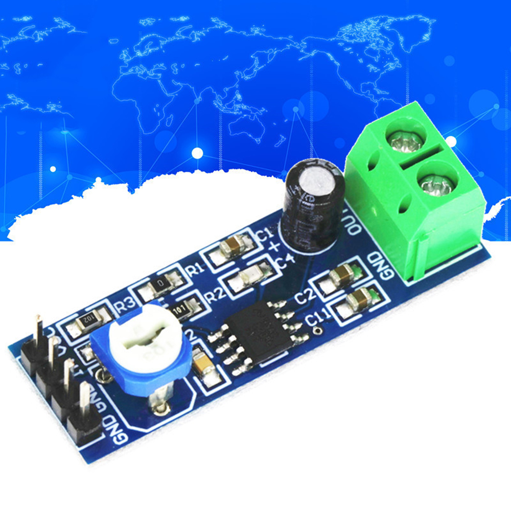 LM386 Audio Power Amplifier Module 200 Times Gain Amplifier Board Mono Power Amplifier 5V-12V Input