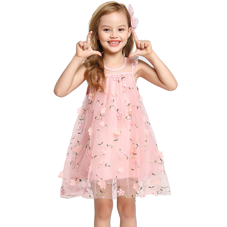 Summer Girls Dress Children Appliques Mesh Clothing 2020 New Pink Gray Princess Dress for Girl Kids Party Birthday Casual Wear 1
