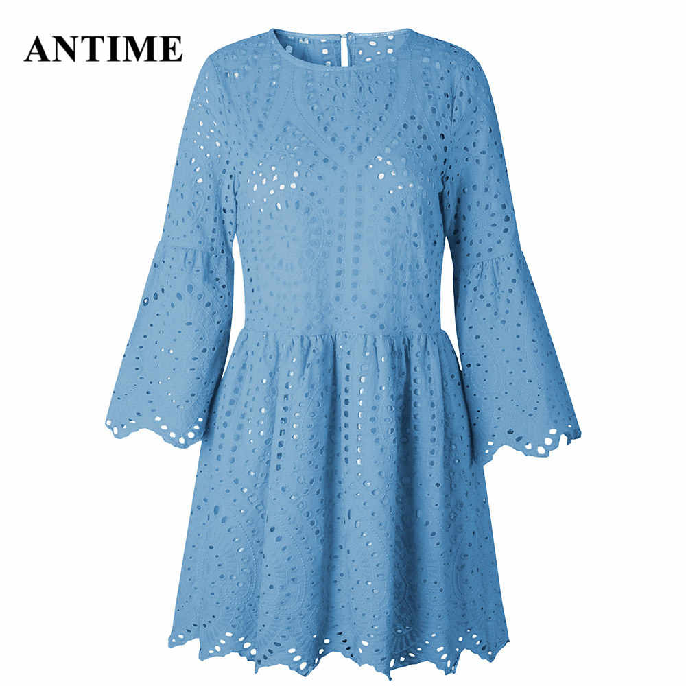 Antime открытые кружевные женские платья с круглым вырезом, сексуальные хлопковые рукава-фонарики с оборками, белые сетчатые летние свободные мини-платья, модные платья