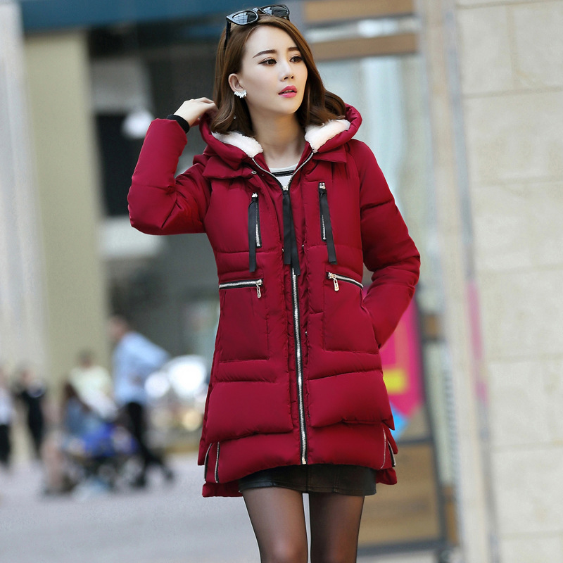 2019 Winter New Style Down Feather Cotton-padded Clothes Women's Korean-style Large Size Coat Fat Mm Army Workwear Cotton Coat M