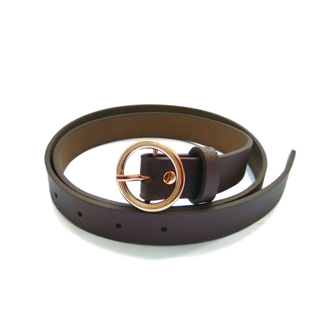 Women's Leather Strap and Belt with Round Metal Buckle
