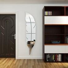 3d estéreo acrílico proteção ambiental decoração para casa espelho adesivo de parede pena criativo espelho de comprimento total