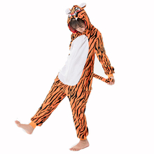 Unicorn Onesies for Children Pajamas Winter Animal Jumpsuit Kids 2020 Flannel Cosplay Tiger Flannel Sleepwear for 4 6 8 10 12Y cheap Acrylic Unisex Blanket Sleepers Fits true to size take your normal size cartoon Print spring autumn winter unicorn cartoon