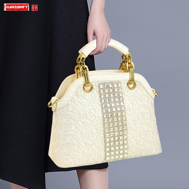 2019 럭셔리 패션 다이아몬드 여성 핸드백 야생 특허 가죽 어깨 가방 화이트 라인 석 대용량 메신저 가방을 slung-에서탑 핸드백부터 수화물 & 가방 의  그룹 1