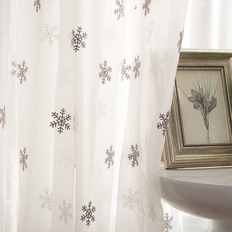 White Snowflake Embroidered Sheer Curtains For Bedroom Organza Pastoral Rural Delicated Bay Window Drapes Wp157C