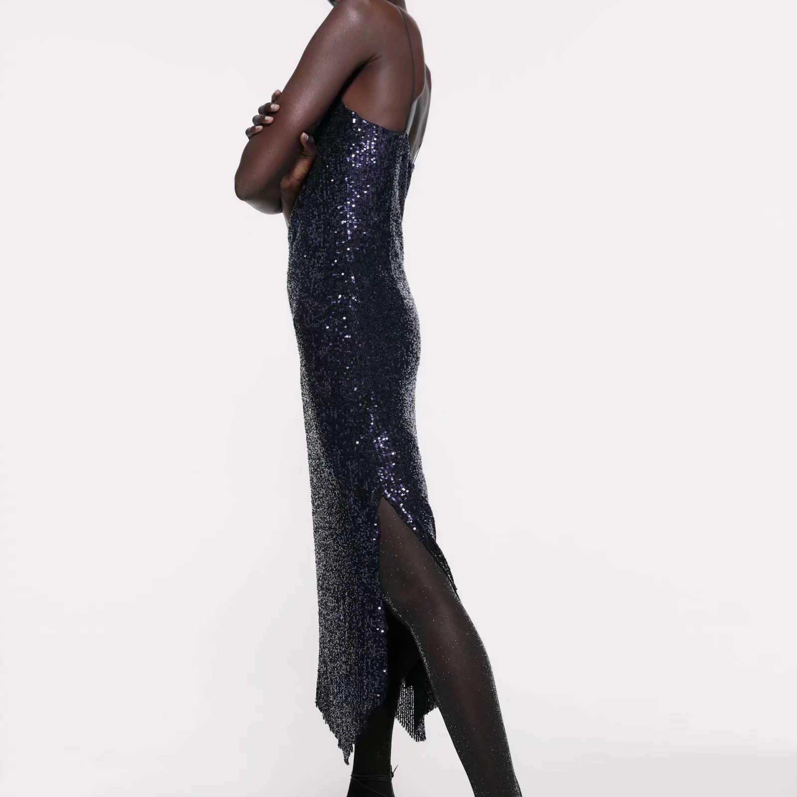 ZA kadın elbise 2019 donanma pullu sling v yaka şık bayanlar ince zarif uzun kulübü akşam parti elbise kadın elbise