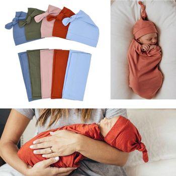 Newborn Infant Baby Girls Boy Solid Sleeping Bags+Hats Blanket 2pcs New Born Set Hat