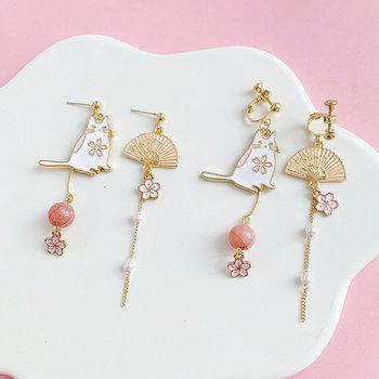 DoreenBeads modne kolczyki złoty biały i różowy Fan kot sztuczna perła styl japoński akcesoria prezent 70mm x 30mm 1 para tanie i dobre opinie Ze stopu cynku CN (pochodzenie) Kolczyki-sztyfty GEOMETRIC Kobiety Etniczne Metal moda AE146844 AE146845 AE146846 AE146847