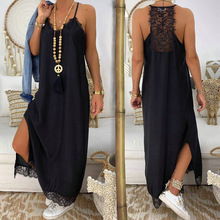 GUMNHU Ladies Sexy Lace Spaghetti Strap Long Dress Women Summer Sling Solid Party Vestidos Verano 2019 Robe Longue Femme
