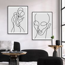 Abstract Line Wall Art Canvas Painting Black And White Poster Print Minimalist Nordic Pictures For living room