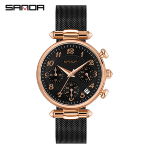 Image 1 - SANDA Womens Watches Top Brand Luxury Waterproof Watch Fashion Ladies Stainless Steel Ultra Thin Casual Wrist Watch Quartz Clock