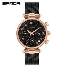 SANDA montre à Quartz pour femmes, marque de luxe, étanche, en acier inoxydable, Ultra fine, tendance décontracté