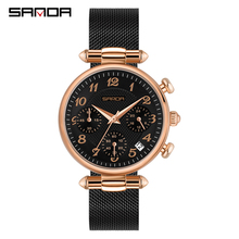 SANDA женские часы Топ бренд класса люкс водонепроницаемые часы модные женские ультра тонкие повседневные наручные часы из нержавеющей стали кварцевые часы