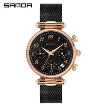 Sanda Vrouwen Horloges Topmerk Luxe Waterdicht Horloge Mode Dames Roestvrij Staal Ultra Dunne Casual Polshorloge Quartz Klok