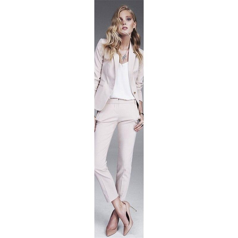 Jacket+Pants Women Business Suits Light Pink Single Breasted Female Office Uniform Ladies Formal Trouser Suit 2 Piece Blazer